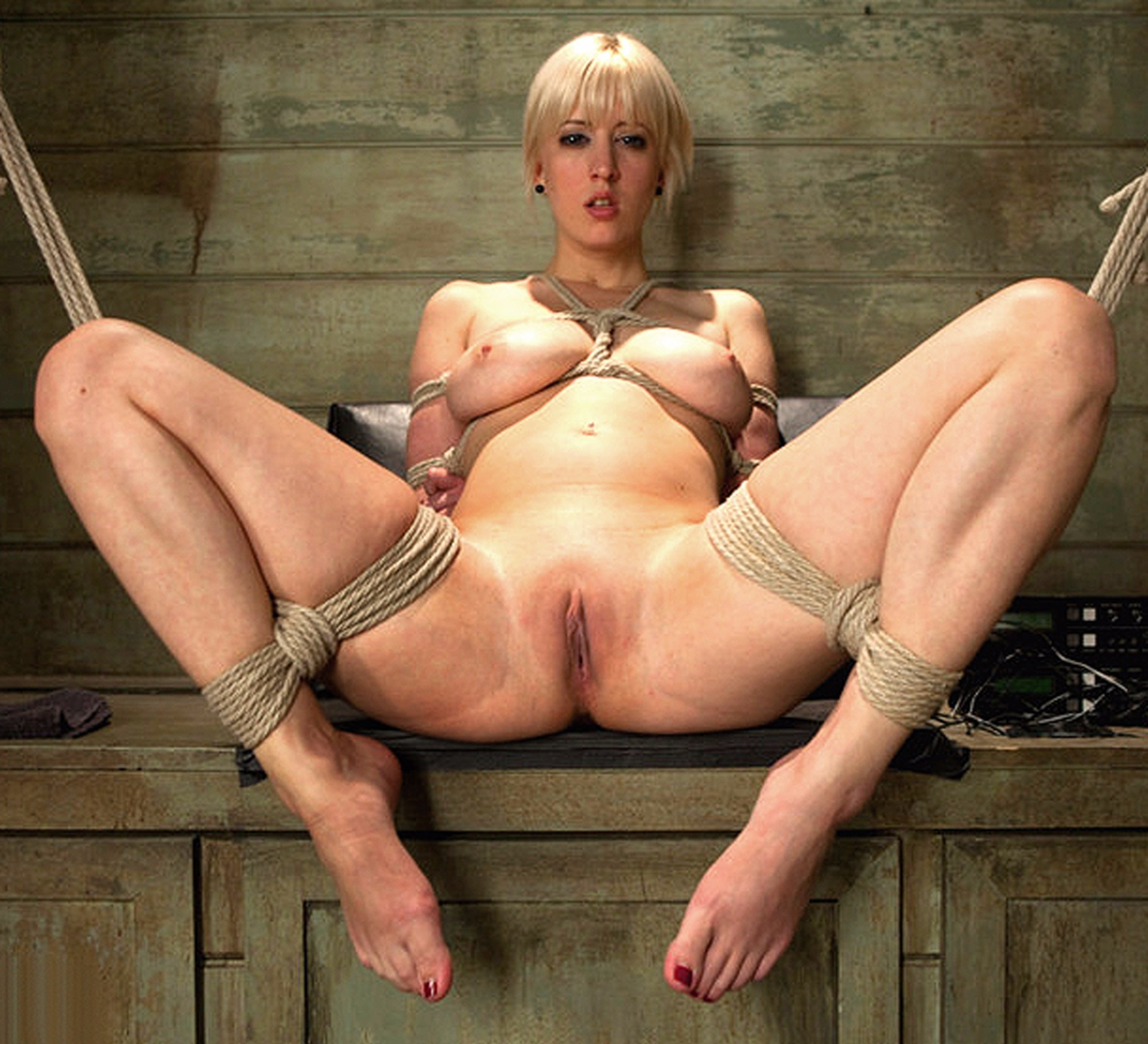 Gorgeously Sexy Busty Bondage Girl Phoenix Marie Loses Her Black Lace Lingerie